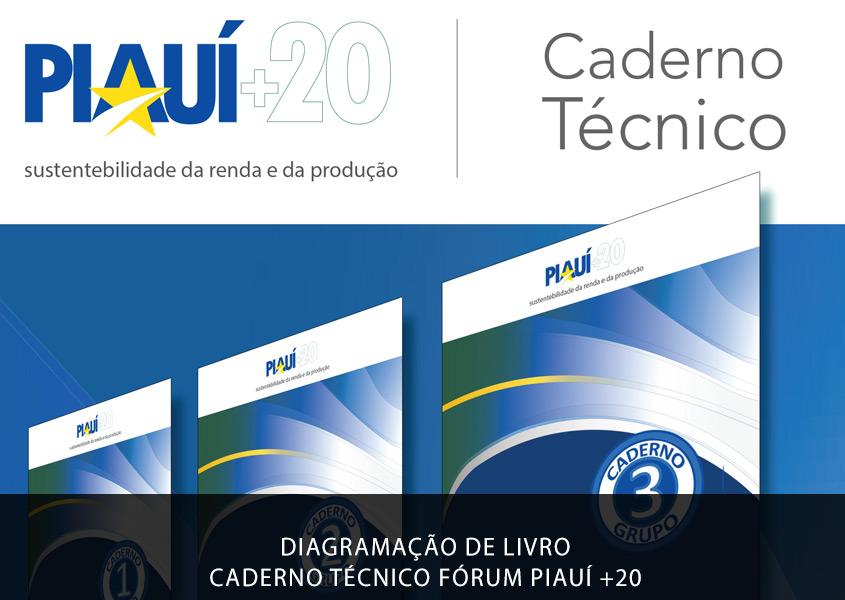 Diagramação de livro Caderno do Grupo 7 do I Fórum Piauí +20: Sustentabilidade da Renda e Produção