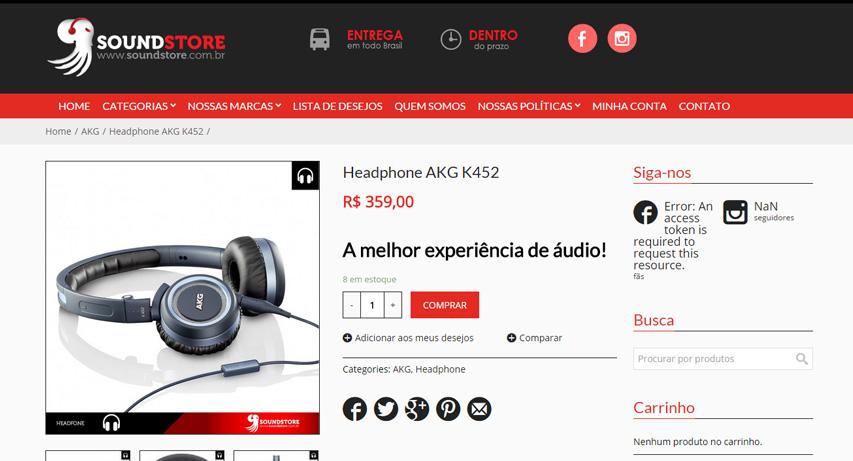 Criação de loja virtual (loja online) em Brasília: Sound Store Eletrônicos abrindo possibilidade de vendas na internet por meio do e-commerce.