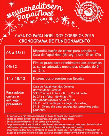 Papai Noel dos Correios 2015, iniciativa belíssima dos Correios que acontece todo ano, realizando o sonho de muitas crianças! Quem puder adotar uma cartinha estará fazendo a alegria de alguma criança.