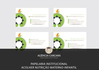 Criação da Papelaria Institucional da Clínica de Nutrição Acolher Materno-Infantil em Brasília.