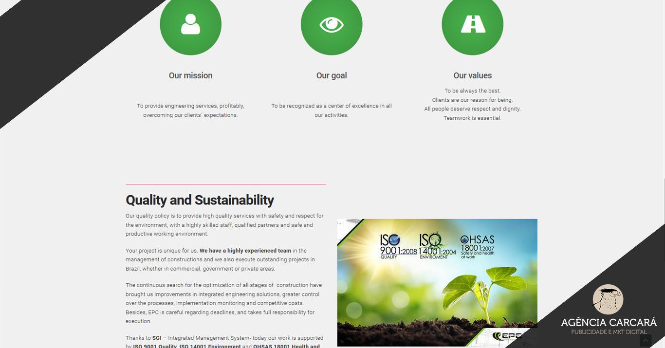 Projeto de Comunicação Empresarial com a criação do site na língua inglesa para a EPC Construções em Brasília