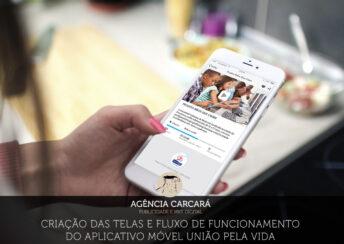 Criação do wireframe, telas e fluxo de funcionamento do aplicativo móvel União Pela Vida para financiamento coletivo da Rede Salesiana Brasil. Criação de aplicativo móvel e app mobile em Brasília com a Agência Carcará.