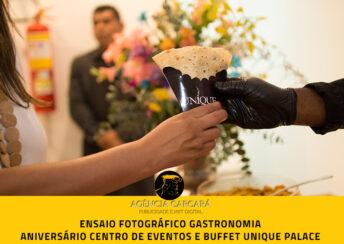 Fotografia publicitaria gastronômica evento aniversário Centro de Eventos e Buffet Unique Palace