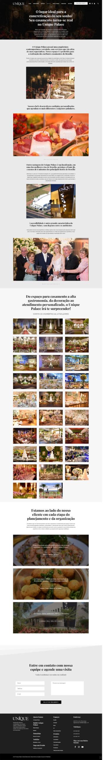 Modernização website Centro de Eventos Unique Palace e Buffet. Um dos mais importantes buffets de Brasília, merecia um novo posicionamento para sua marca, graças ao marketing digital gastronômico.