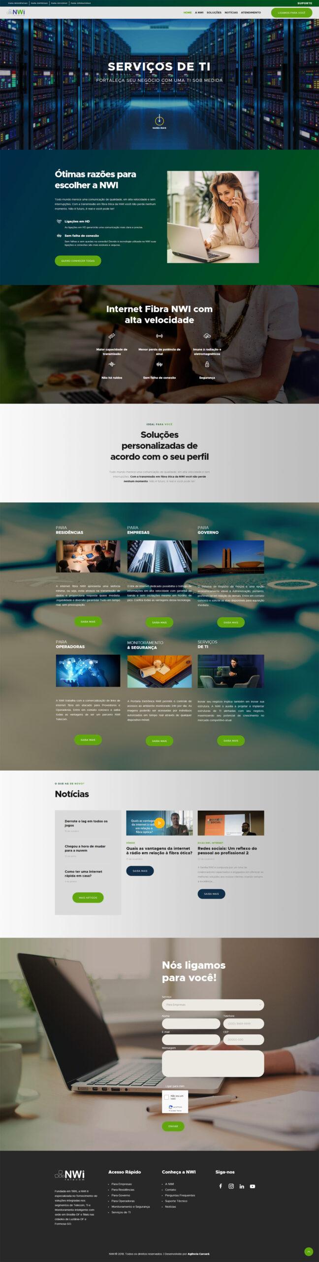 Modernização do site da empresa de telecomunicação NWI Telecom