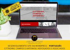 Desenvolvimento do site em Wordpress para o escritório CCA Advogados Associados, com conteúdo em versão em português